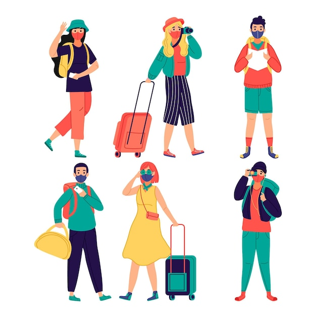 Tema de turistas usando máscaras Vetor grátis