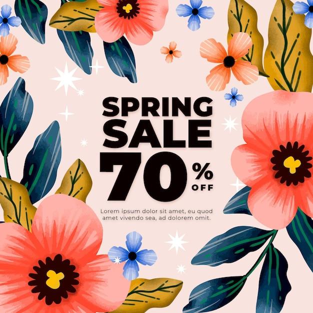 Tema de venda de primavera em aquarela Vetor grátis