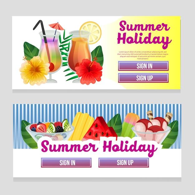 Tema de verão colorido web banner com ilustração em vetor bebida refresco Vetor Premium