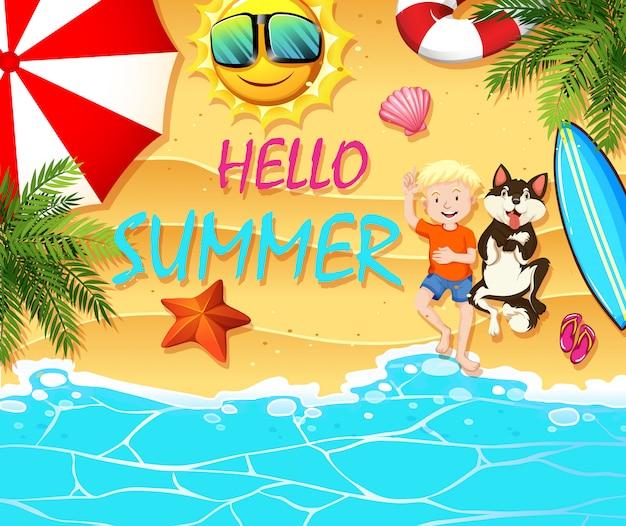 Tema de verão com menino e cachorro na praia Vetor grátis