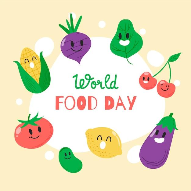 Tema desenhado à mão do dia mundial da alimentação Vetor grátis