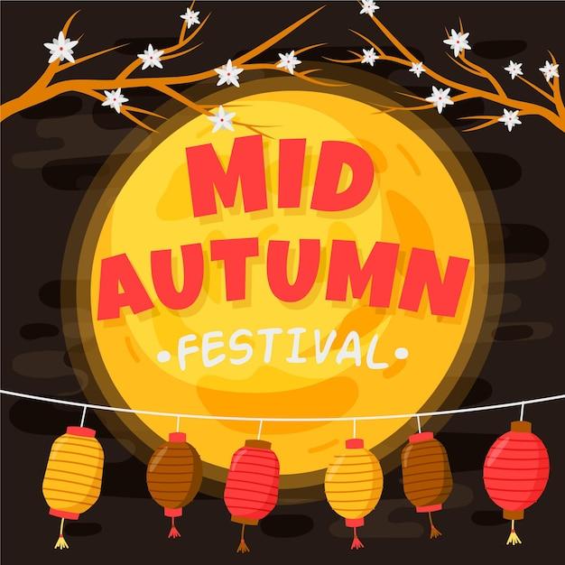 Tema desenhado do festival do meio do outono Vetor grátis