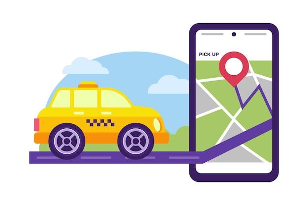 Tema do aplicativo de serviço de táxi Vetor grátis