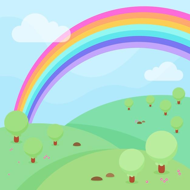 Tema do arco-íris design plano Vetor grátis