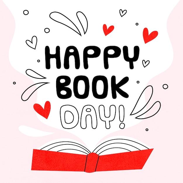 Tema do dia mundial do livro desenhados à mão Vetor Premium
