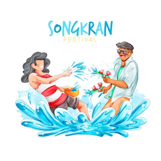 Tema do festival de songkran em aquarela Vetor grátis