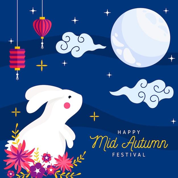 Tema do festival do meio do outono Vetor Premium