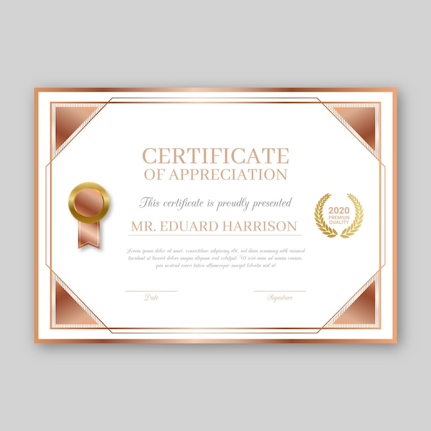 Tema do modelo de certificado de prêmio Vetor grátis