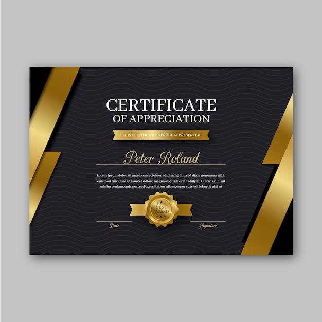 Tema do modelo de certificado de reconhecimento Vetor grátis