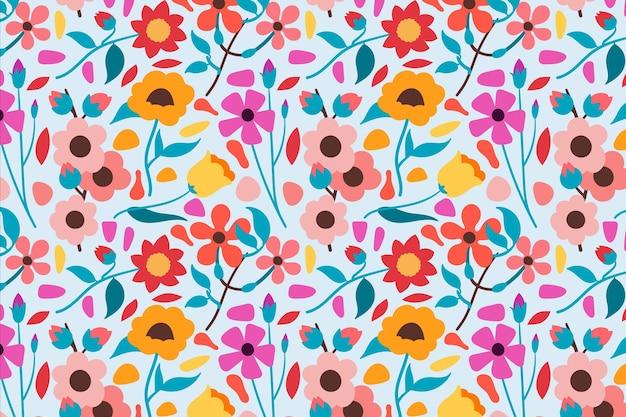 Tema do pacote de padrão floral Vetor Premium