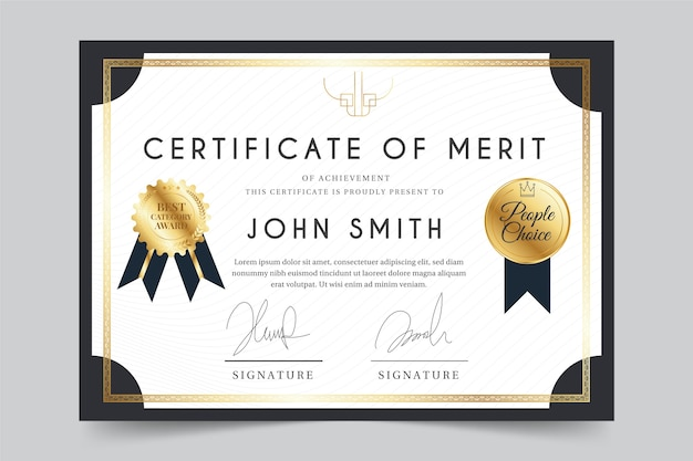 Tema elegante para o modelo de certificado Vetor grátis