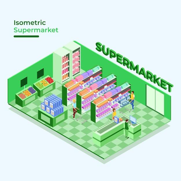 Tema isométrico de supermercado Vetor grátis