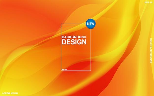 Tema líquido do fundo abstrato com cor alaranjada do sunsite. moderno mínimo eps 10 Vetor Premium