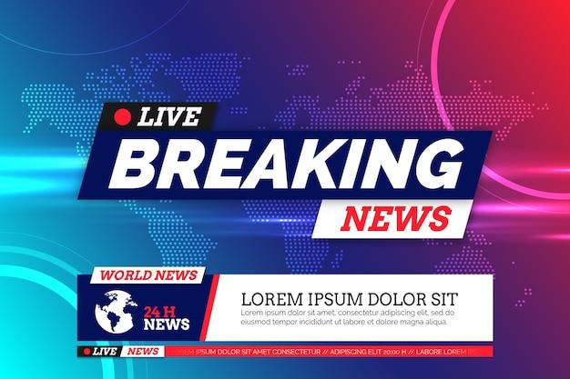 Tema oficial da televisão de notícias de última hora Vetor Premium