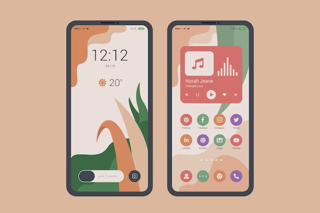 Tema orgânico da tela inicial para smartphone Vetor Premium