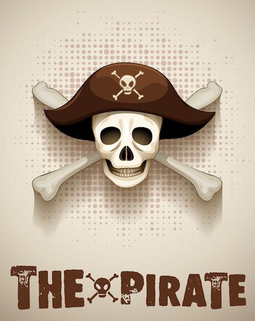 Tema pirata com caveira pirata Vetor grátis