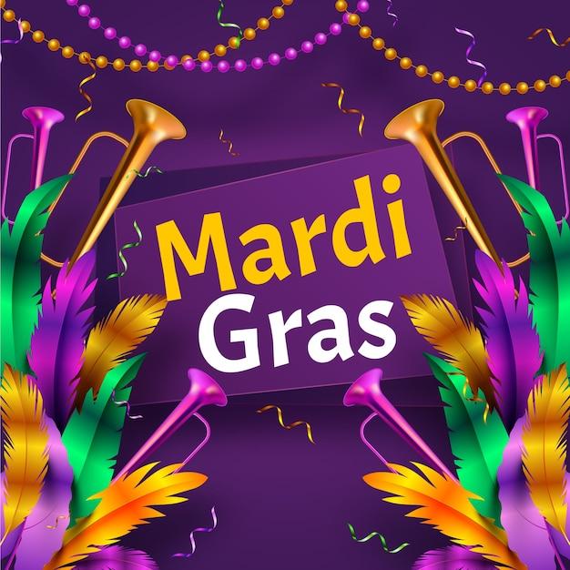 Tema realista para a celebração do evento de carnaval Vetor grátis