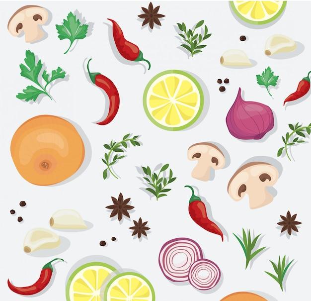 Tempero e alimentos vegetais Vetor Premium