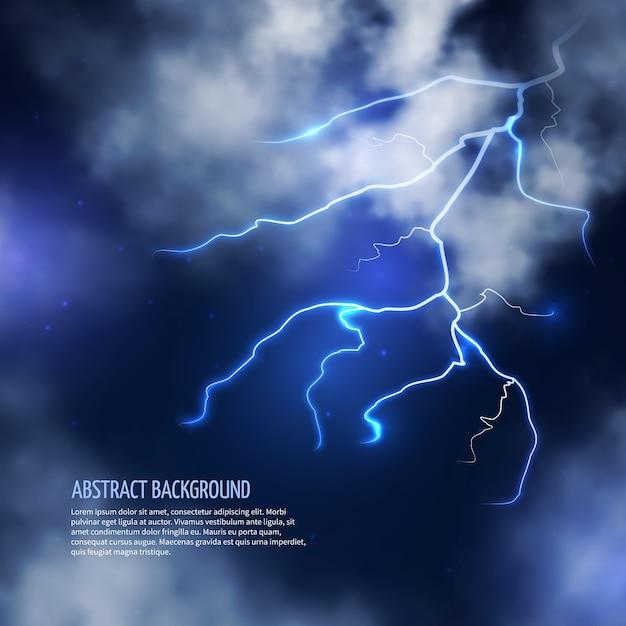 Tempestade com nuvens e relâmpagos. flash de raio, energia elétrica. fundo abstrato da ilustração vetorial Vetor grátis