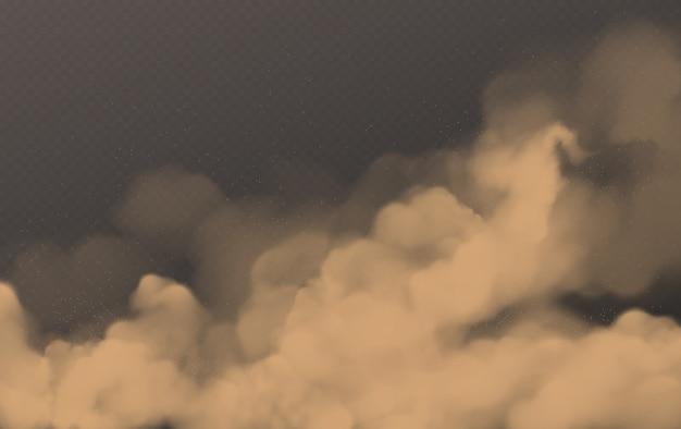 Tempestade de areia do deserto, nuvem empoeirada marrom transparente Vetor grátis