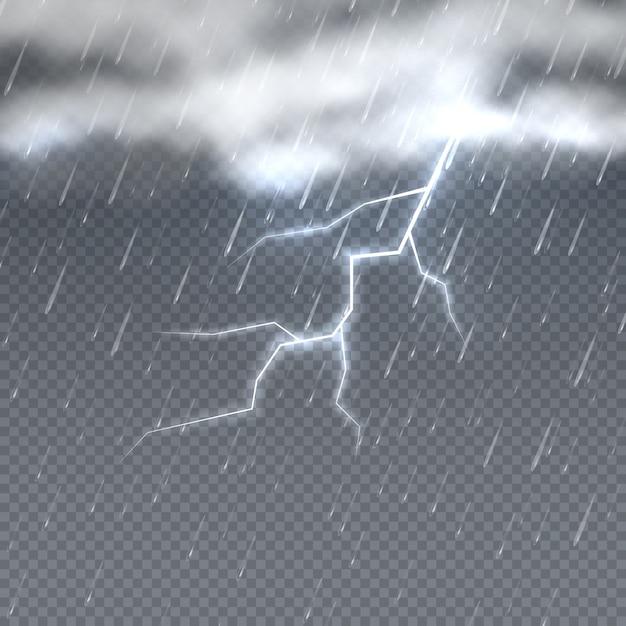 Tempestade e relâmpago com chuva e nuvens no céu isolado. fundo do clima. tempestade tempo chuva e relâmpago Vetor Premium