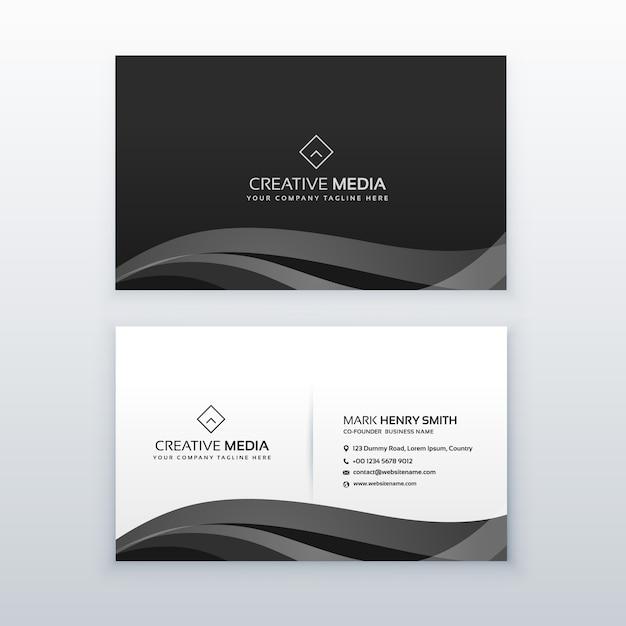 Template design moderno profissional escuro cartão de visita em preto e branco Vetor grátis