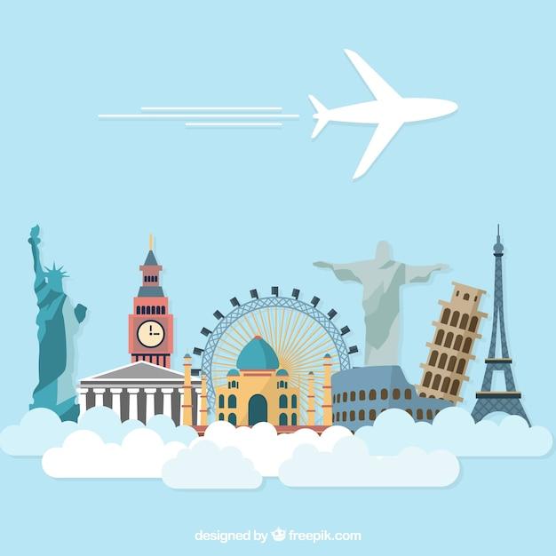 Template férias avião Vetor grátis
