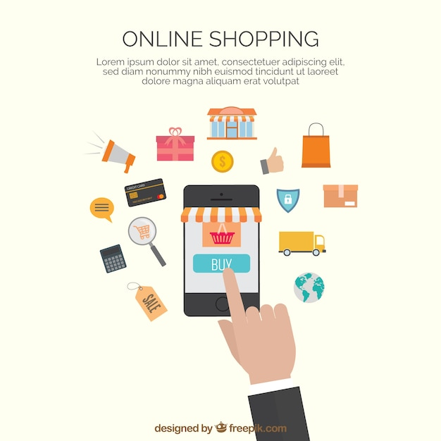 Template cones de compras online baixar vetores gr tis for How to buy goods online