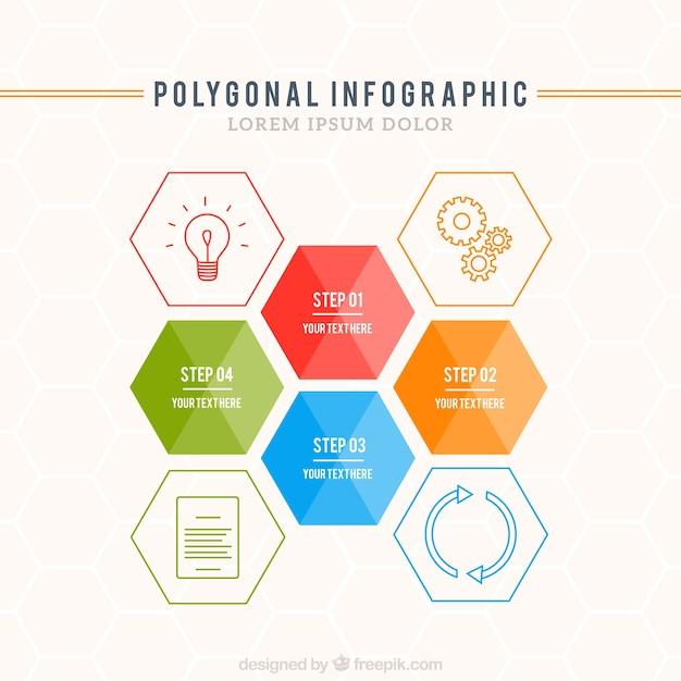 Template infográfico poligonal Vetor grátis
