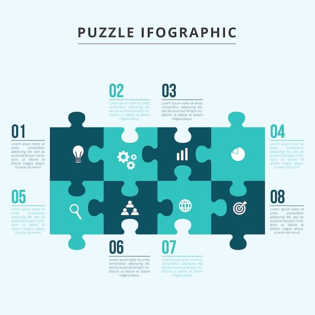 Template infographics puzzle Vetor Premium