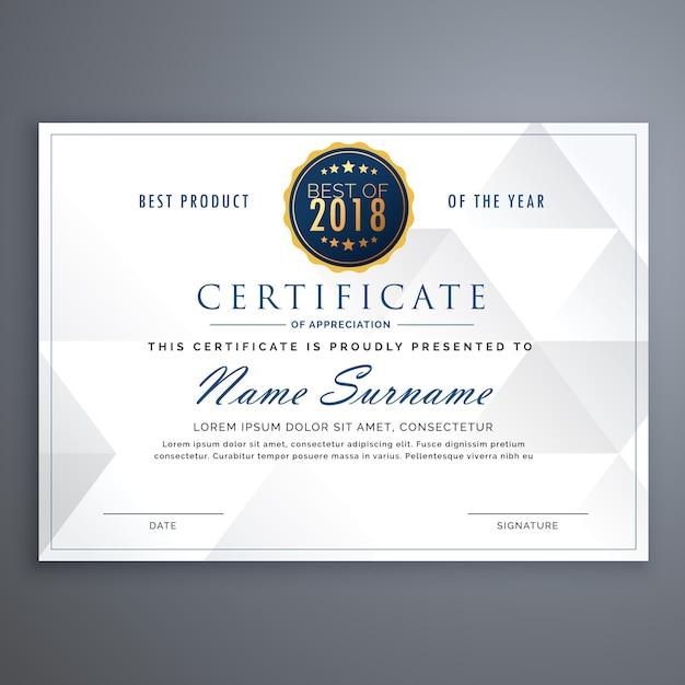 Template limpo projeto certificados brancos Vetor grátis