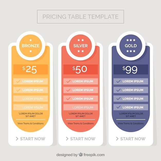 Template preço com três planos | Baixar vetores grátis