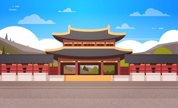 Templo da coreia tradicional sobre montanhas paisagem palácio da coreia do sul edifício famosa ponto de referência Vetor Premium