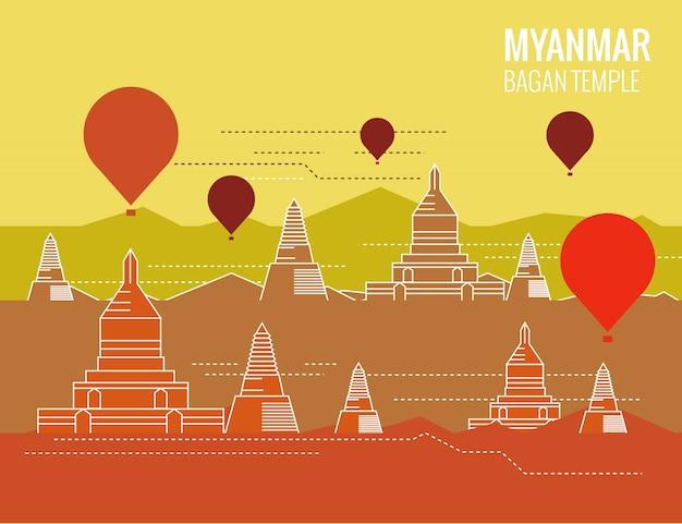 Templo de bagan com balão de ar quente. cena de destino de myanmar. design plano de linha fina. ilustração vetorial Vetor Premium