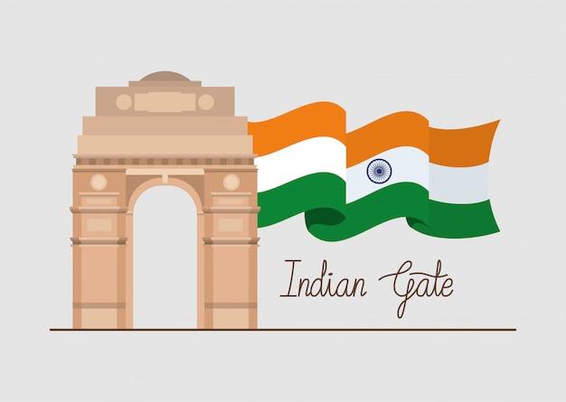 Templo indiano da porta com bandeira Vetor grátis