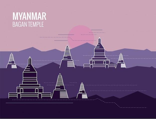 Templos de myanmar background Vetor Premium