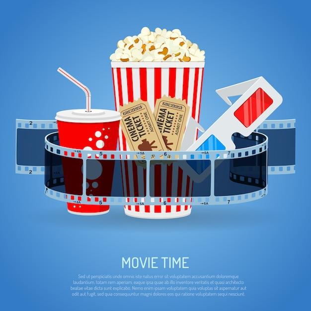 Tempo de cinema e filme Vetor Premium