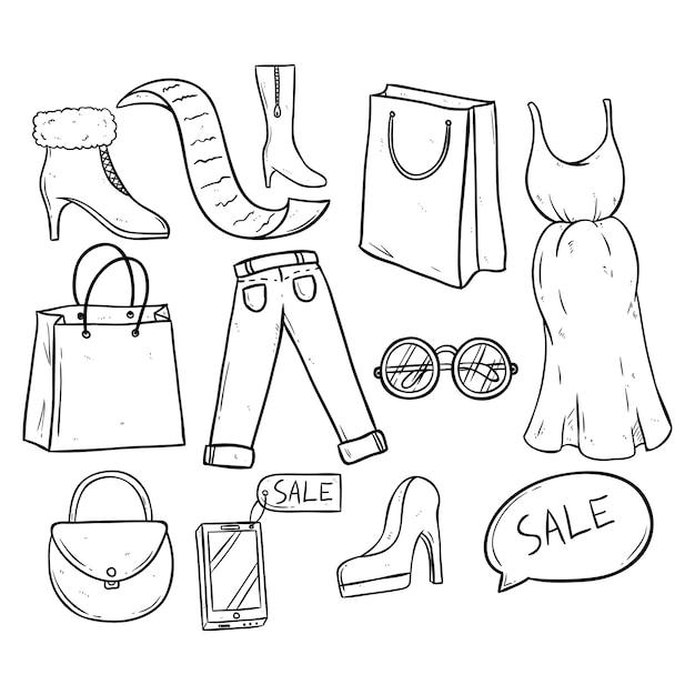 Tempo de compras e venda com roupas e acessórios femininos Vetor Premium