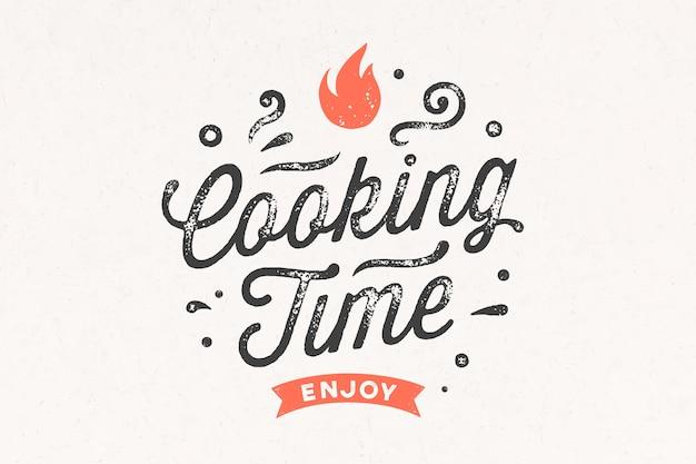 Tempo de cozimento. cartaz de cozinha. Vetor Premium