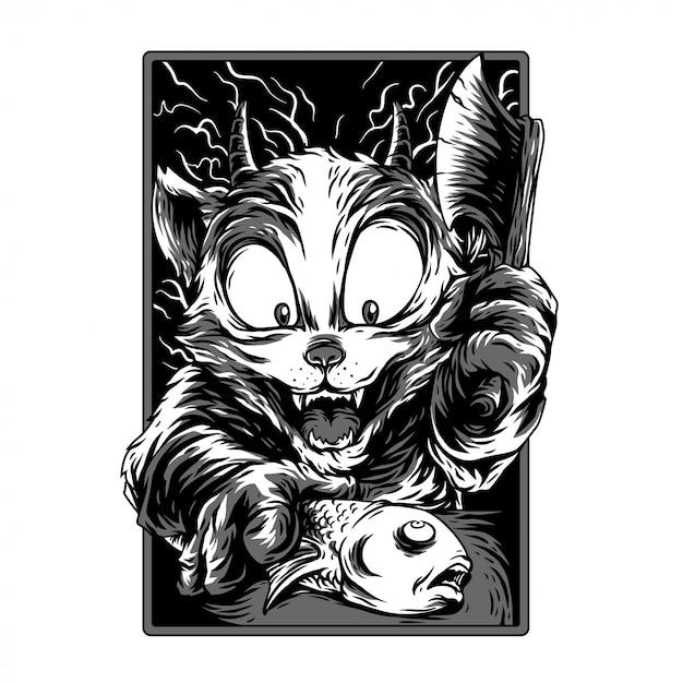 Tempo de cozimento remasterizado ilustração preto e branco Vetor Premium