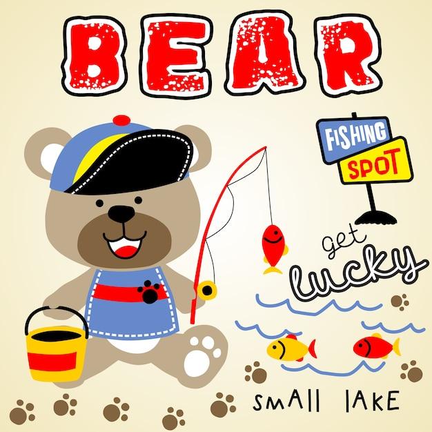 Tempo de pesca de urso Vetor Premium