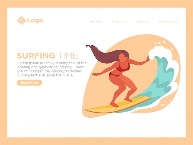 Tempo de surf Vetor Premium