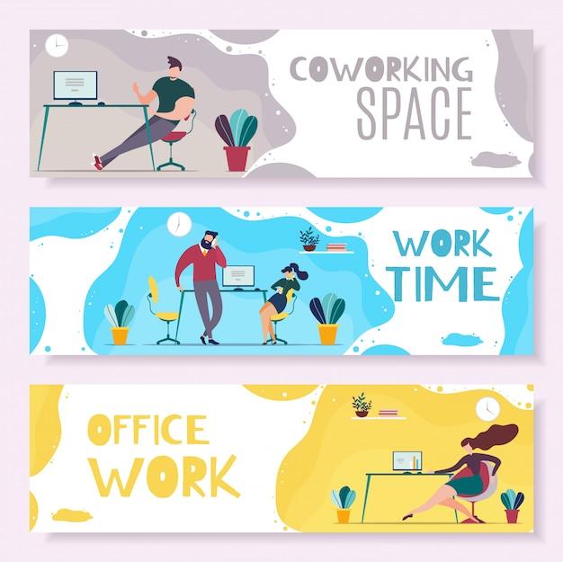 Tempo de trabalho e conjunto de banner de cabeçalho de gerenciamento de escritório Vetor Premium