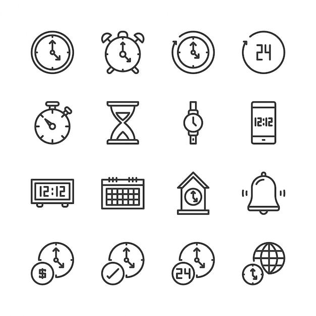 Tempo e conjunto de ícones de relógio Vetor Premium