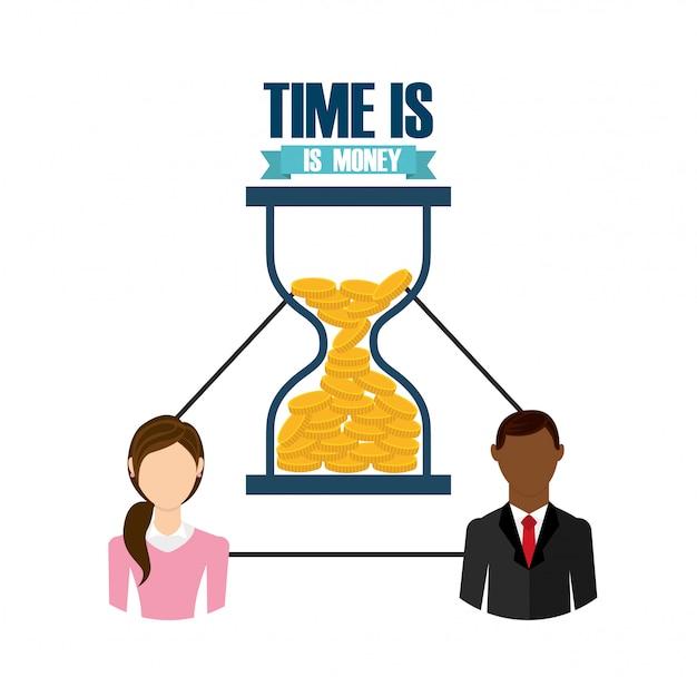 Tempo é dinheiro design Vetor grátis