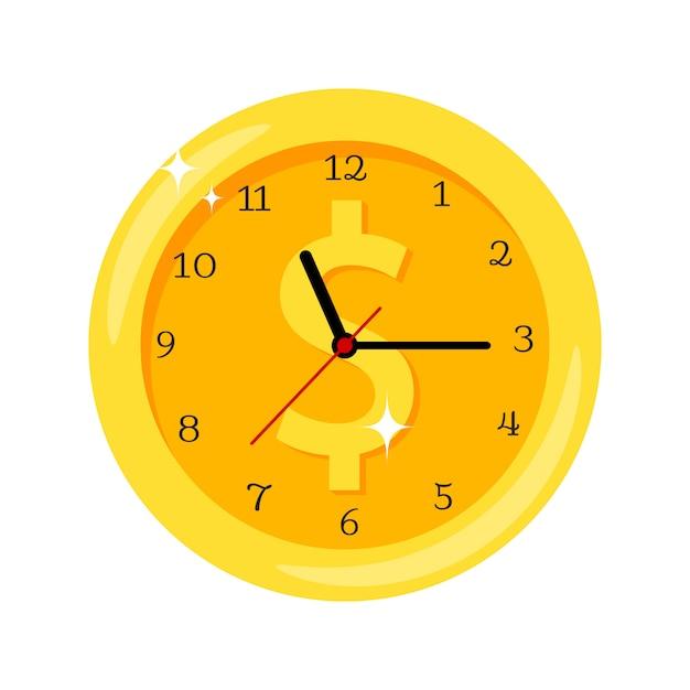 Tempo é dinheiro ícone de relógio amarelo com o símbolo do dólar Vetor Premium