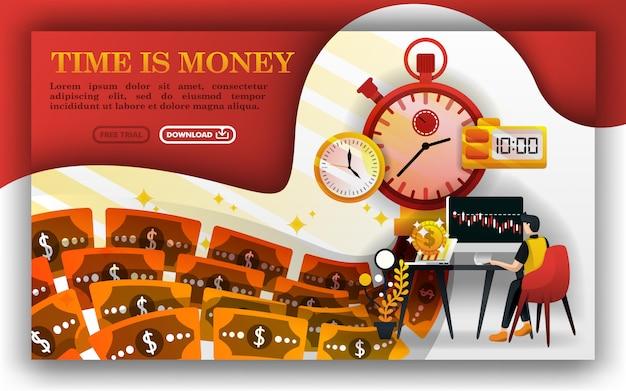 Tempo é dinheiro ou uma máquina de dinheiro Vetor Premium