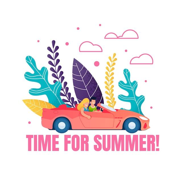 Tempo para a frase de motivação de verão. caricatura, par, dirigindo carro Vetor Premium