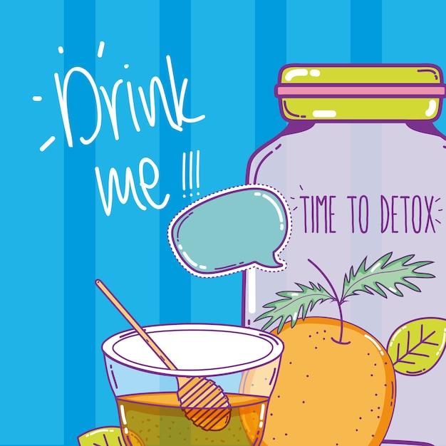 Tempo para desintoxicar suco com laranja e mel mason jar Vetor Premium