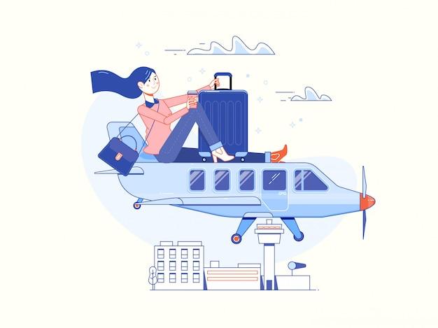 Tempo para viajar e cartaz de férias de verão Vetor Premium